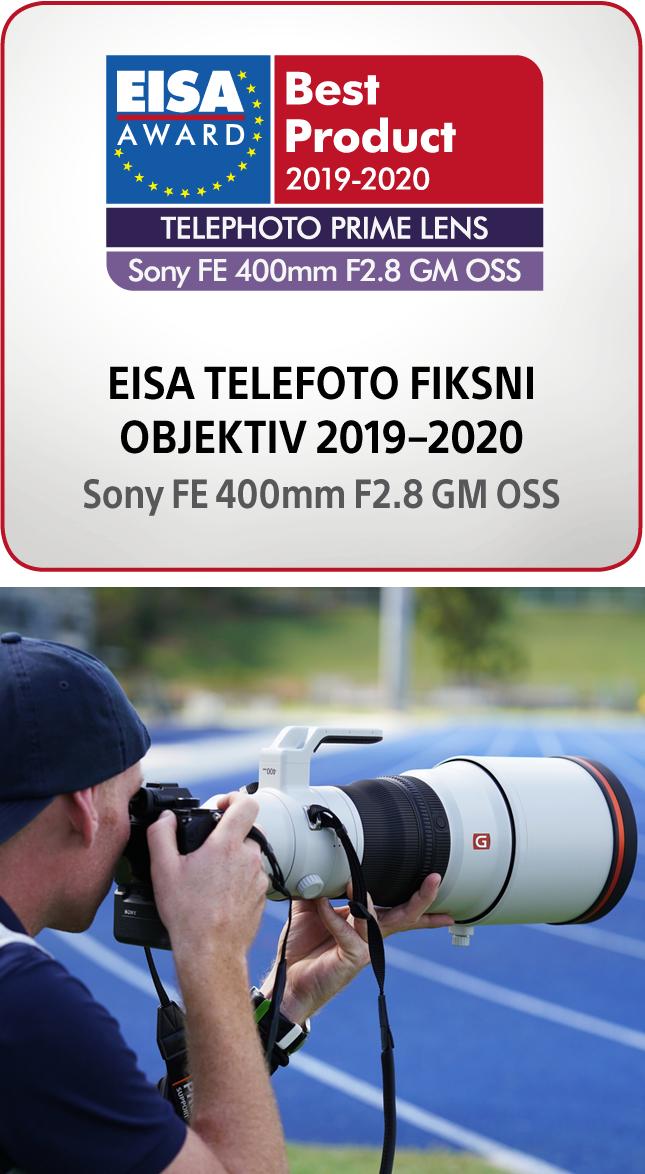 Nagrada za najboljši telefoto fiksni objektiv Sony SEL-400F28 G Master