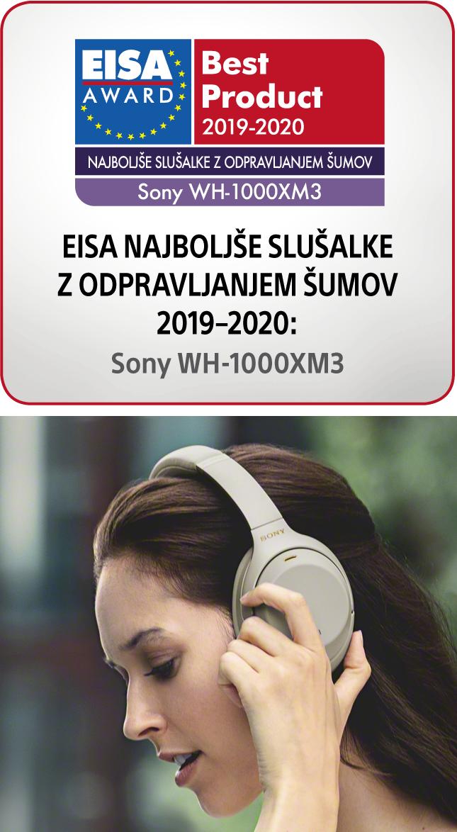 Nagrada za najboljše slušalke z odpravljanjem šumov Sony WH1000XM3